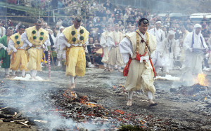 "Mandatory Credit: Photo by Aflo/REX (4509969g) Practitioners of the Shugendo religion walk through a path of smoldering embers during the 'Hiwatari-matsuri' in Takao-san Yakuo-in Yuki-ji Temple, Hachioji-shi, Tokyo Fire-walking festival in Mount Takao, Tokyo, Japan - 08 Mar 2015 Shugendo's followers also called ""Yamabushi"" perform the fire walk to receive protection from misfortune, and for good health and to pray for peace in the world. Visitors can participate at the end of the ceremony to receive the benefits. Shugendo is a unique Japanese religion that mixes Buddhism and ancient mountain worship. The festival is held yearly on the second Sunday of March."